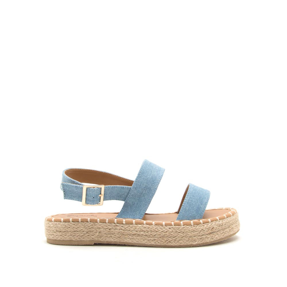 Kirk-19X Light Blue Denim Slingback Sandals