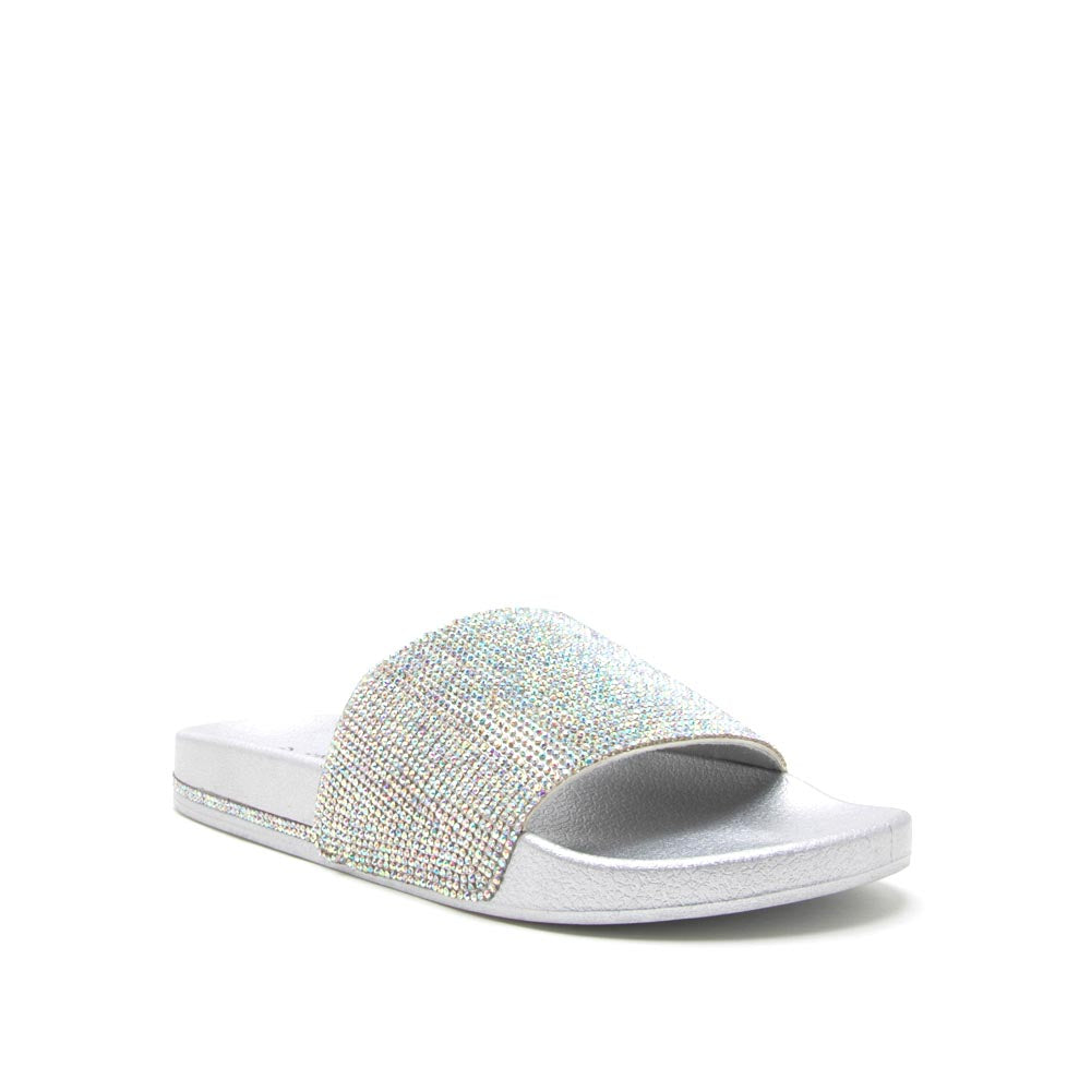 Kissy-01 Silver Metallic Embellished Slide