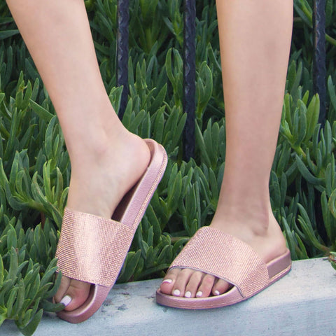 Kissy-01 Rose Gold Metallic Embellished Slide