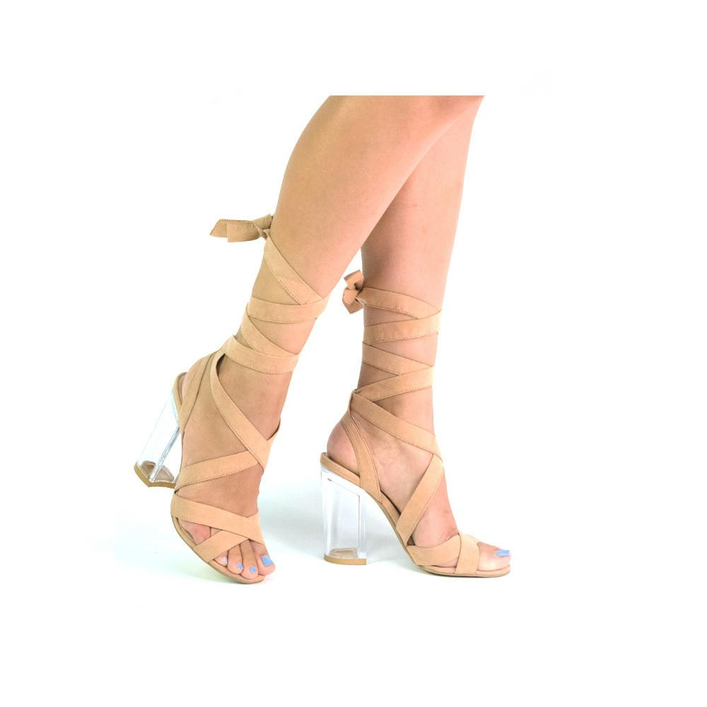 KLOUDE-05 Blush Clear Lace-Up Heel