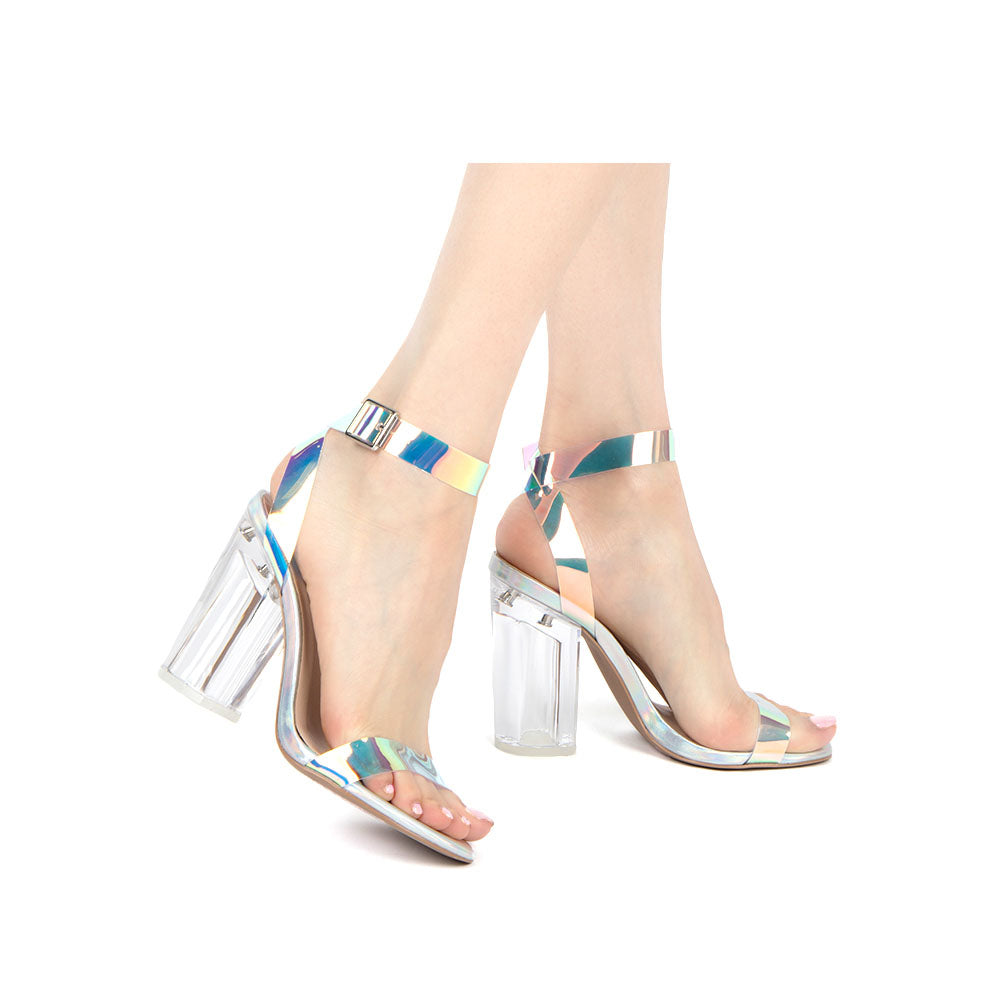 Kloude-07 Iridescent Strappy High Heels