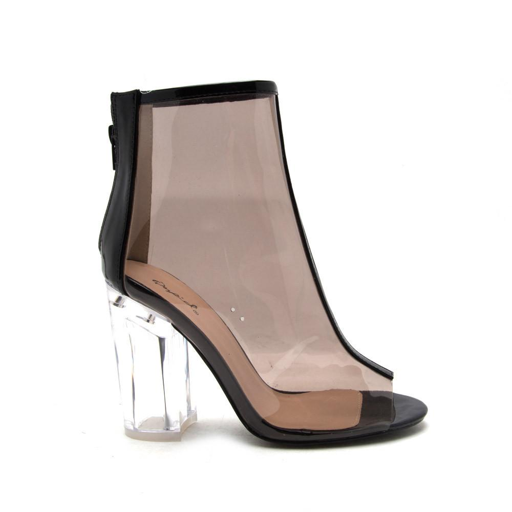 KLOUDE-10 Black Perspex Ankle Booties
