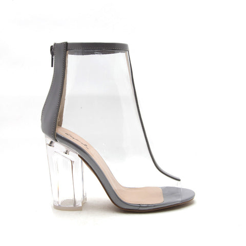 KLOUDE-10 Light Grey Perspex Ankle Booties