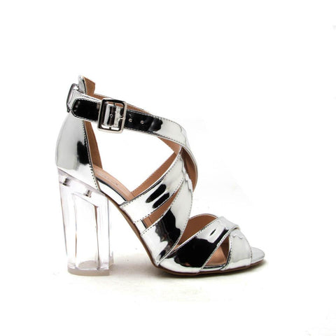 KLOUDE-12A Silver Shiny Metallic Strappy Perspex Heel