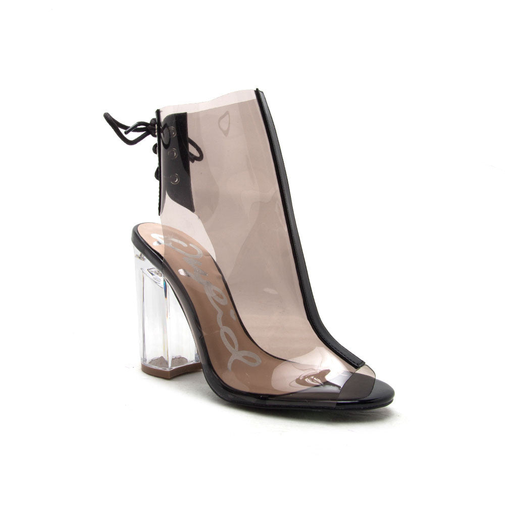KLOUDE-20 Grey Clear Peep Toe Cuffed Bootie