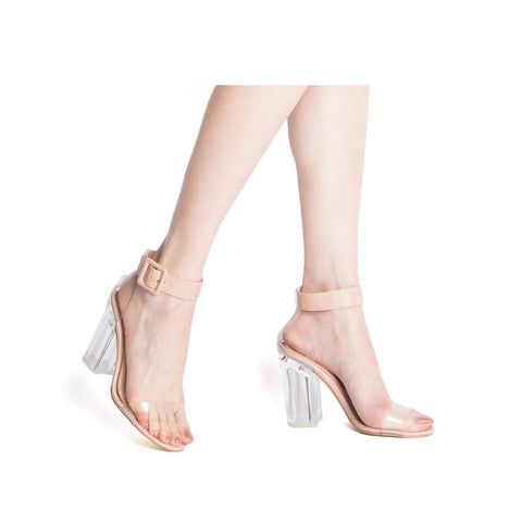 Kloude-39 Nude Crocodile Single Band Ankle Straps