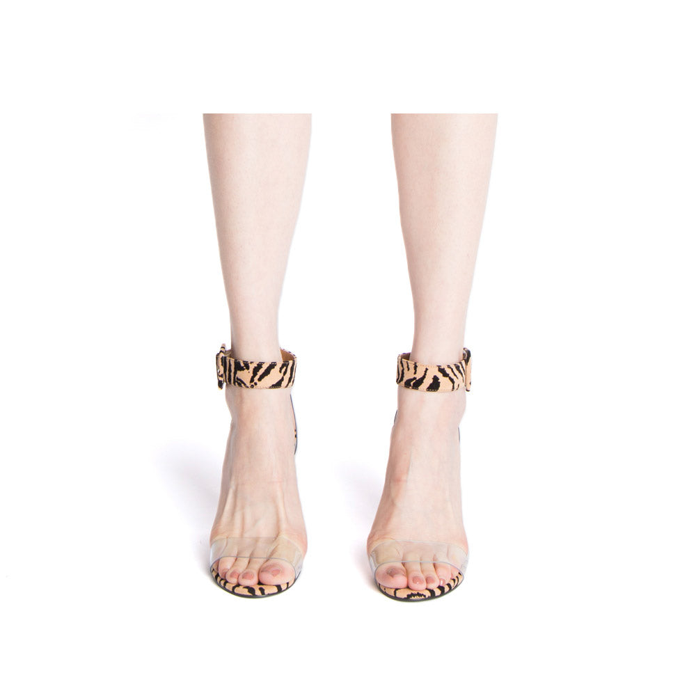 Kloude-39 Tan Black Tiger Single Band Ankle Straps