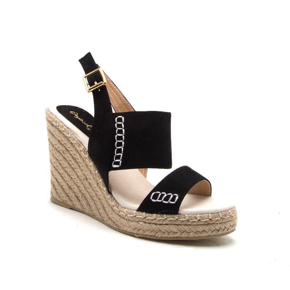 KNOX-01XX Black 2 Band Wedge Sandal