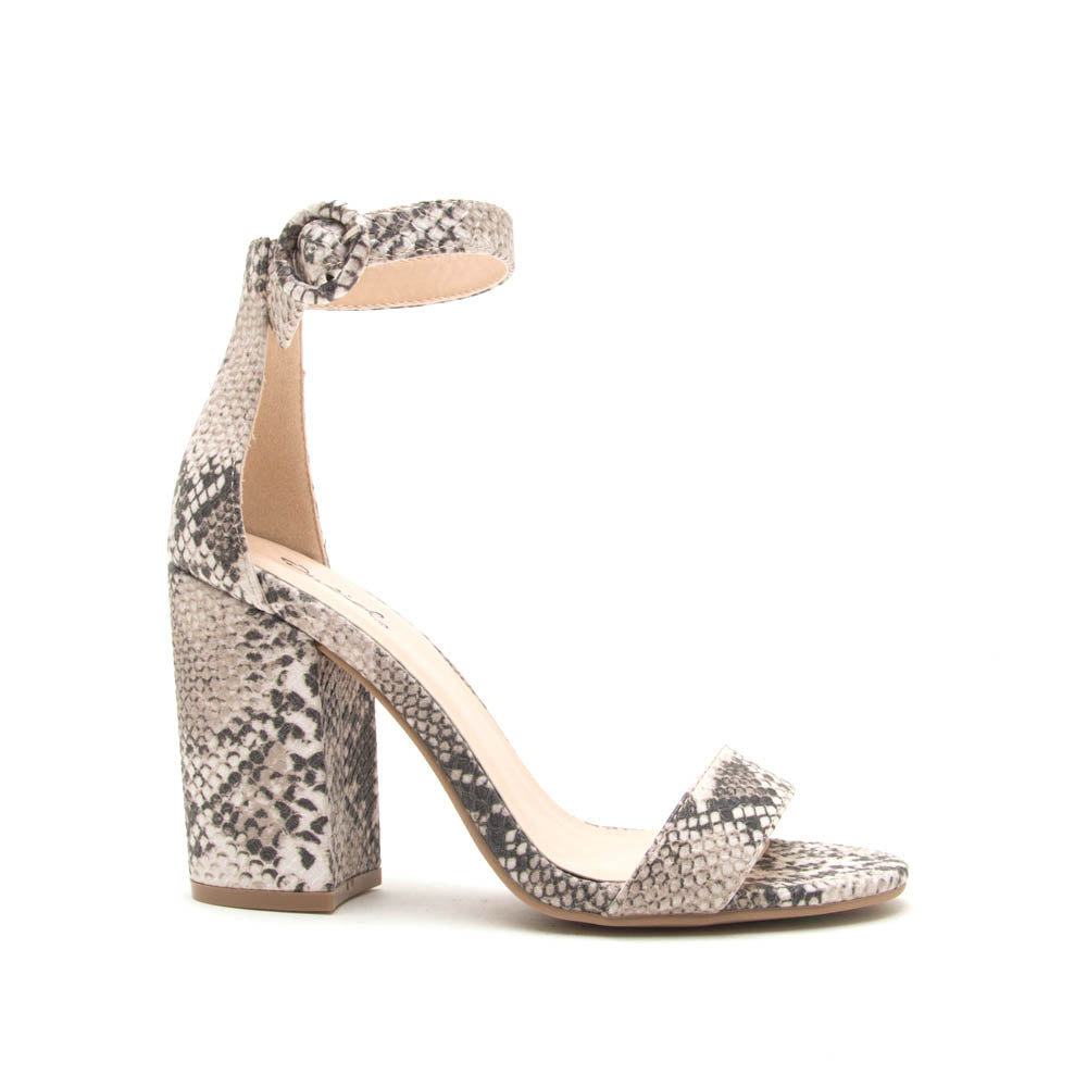 Lake-01 Beige Brown Snake Ankle Strap Sandal