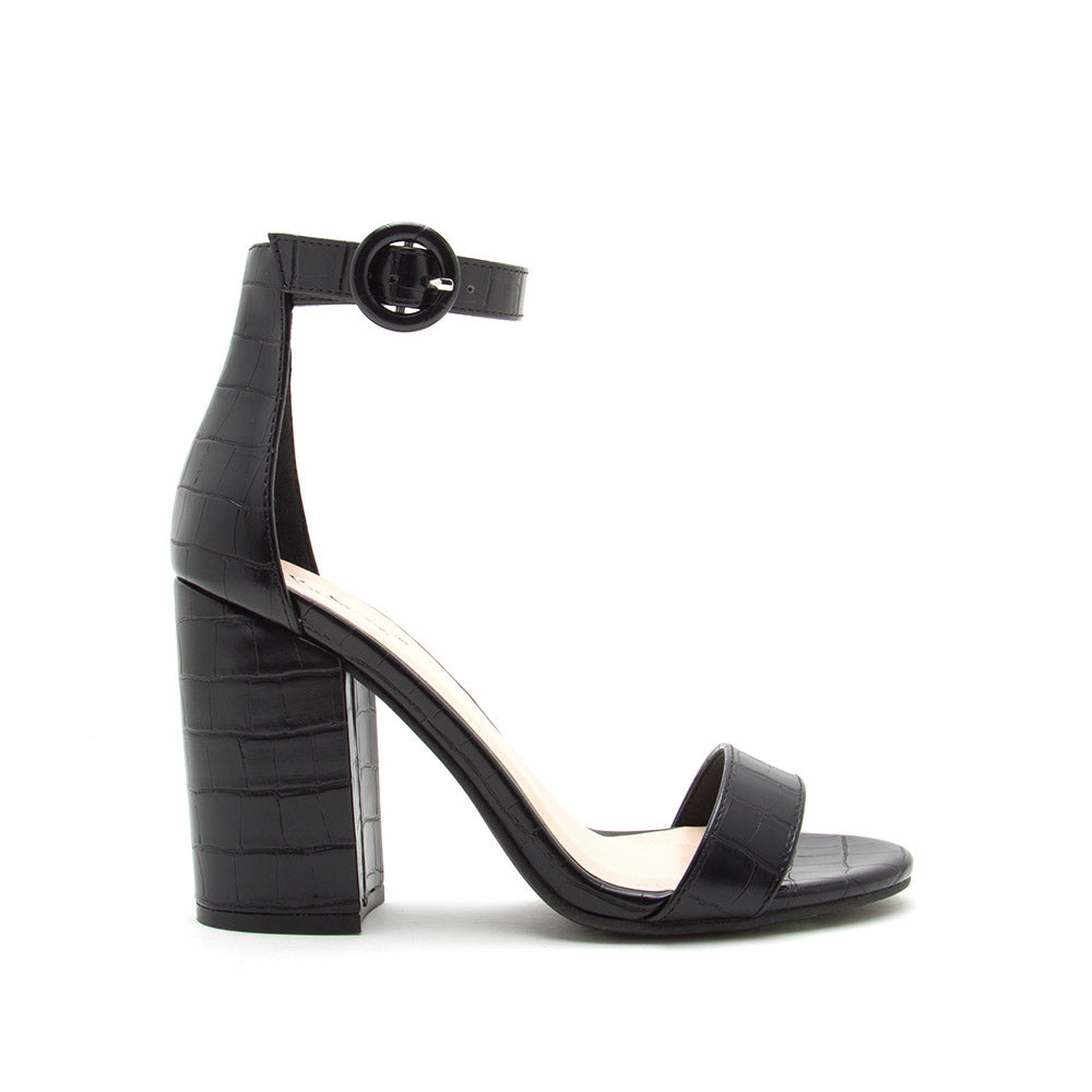 Lake-01 Black Crocodile One Band Ankle Strap Sandal