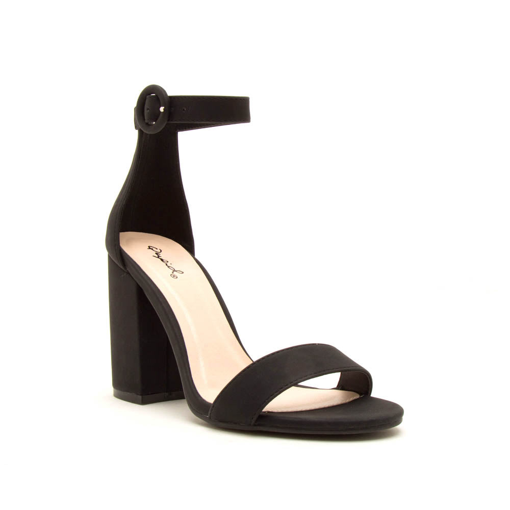 Lake-01 Black Nubuck One Band Ankle Strap Sandal