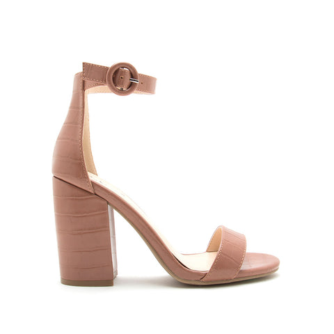 Lake-01 Mocha Crocodile One Band Ankle Strap Sandal