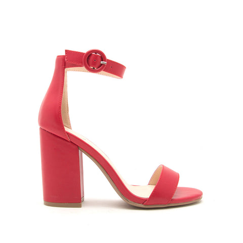 Lake-01 Red One Band Ankle Strap Sandal