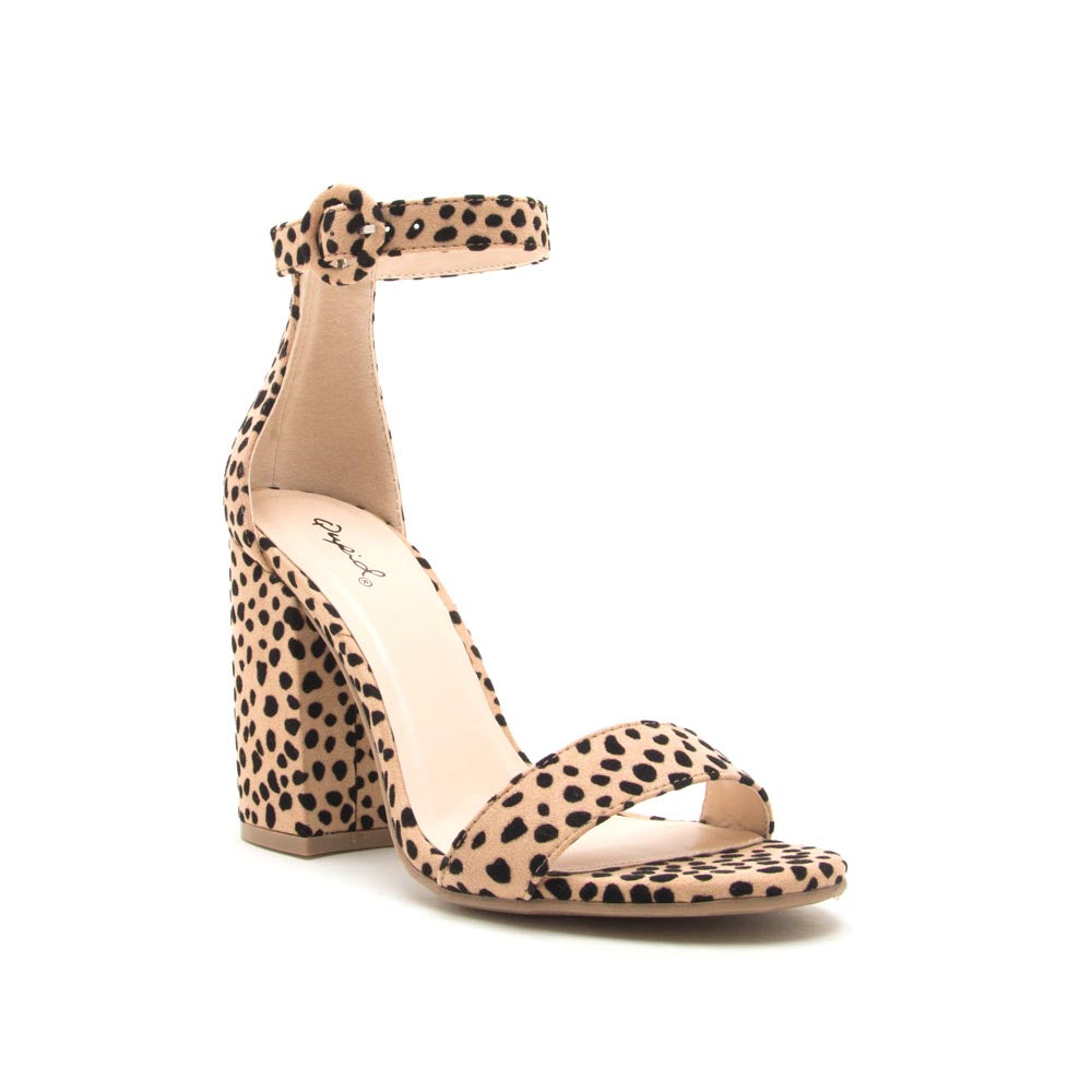 Lake-01 Tan Black Leopard Ankle Strap Sandal