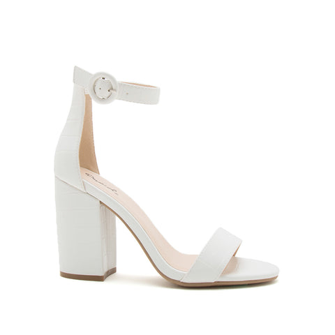 Lake-01 White Crocodile One Band Ankle Strap Sandal