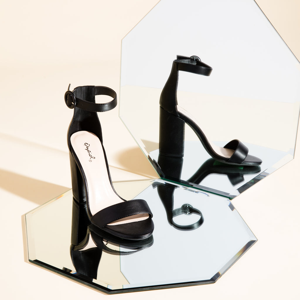 Lake-01 Black Leatherette One Band Ankle Strap Sandal