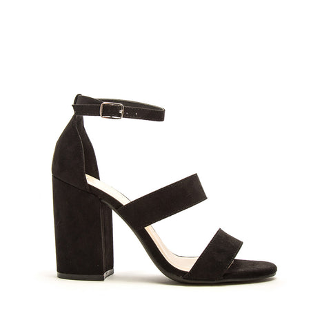 Lake-42 Black Triple Band Ankle Strap Heels
