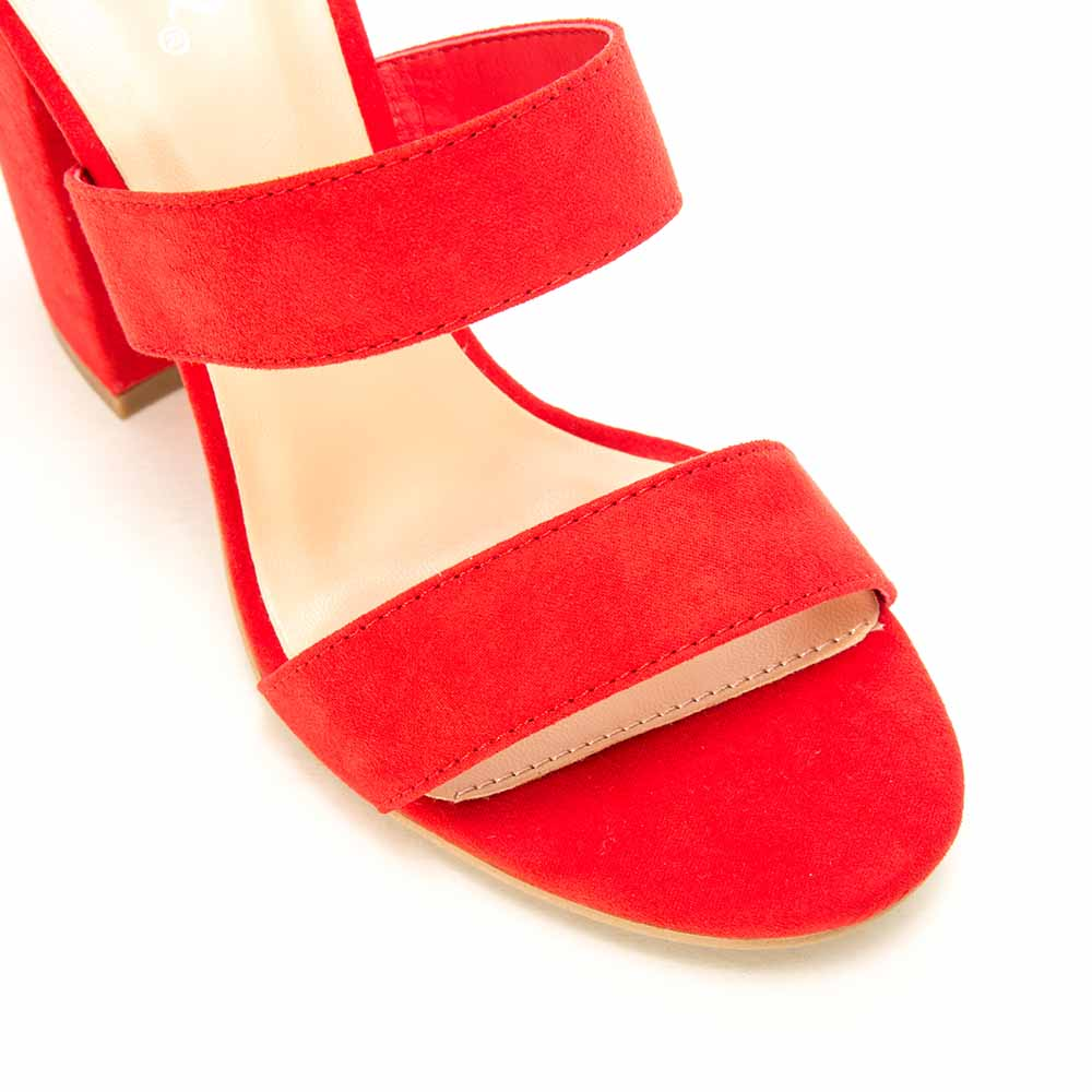 Lake-42 Red Triple Band Ankle Strap Heels