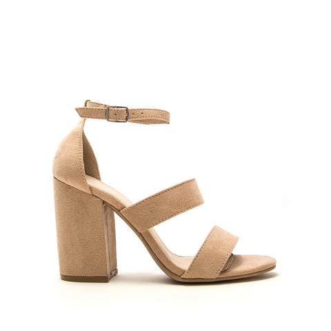 Lake-42 Warm Taupe Triple Band Ankle Strap Heels