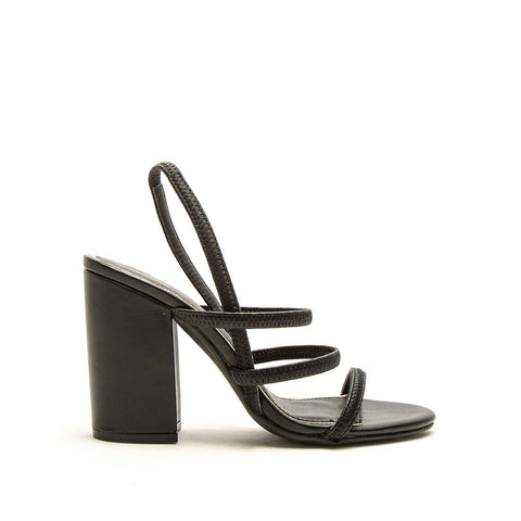 Lake-43 Black Triple Strap Slingback Heels