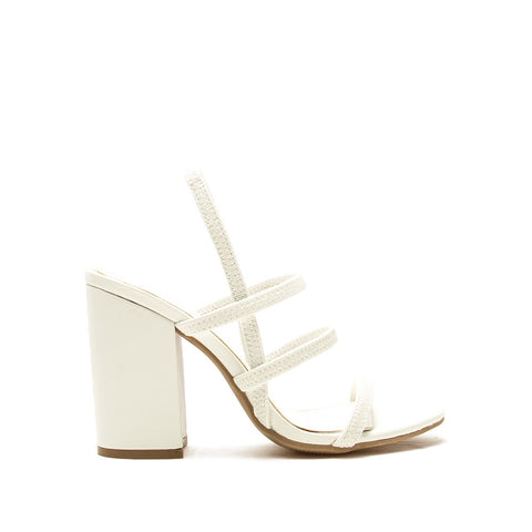 Lake-43 White Triple Strap Slingback Heels