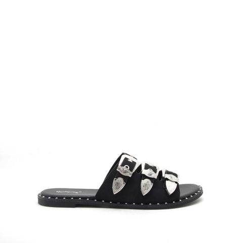 Lancer-01 Black Studded Three Bands Sandal