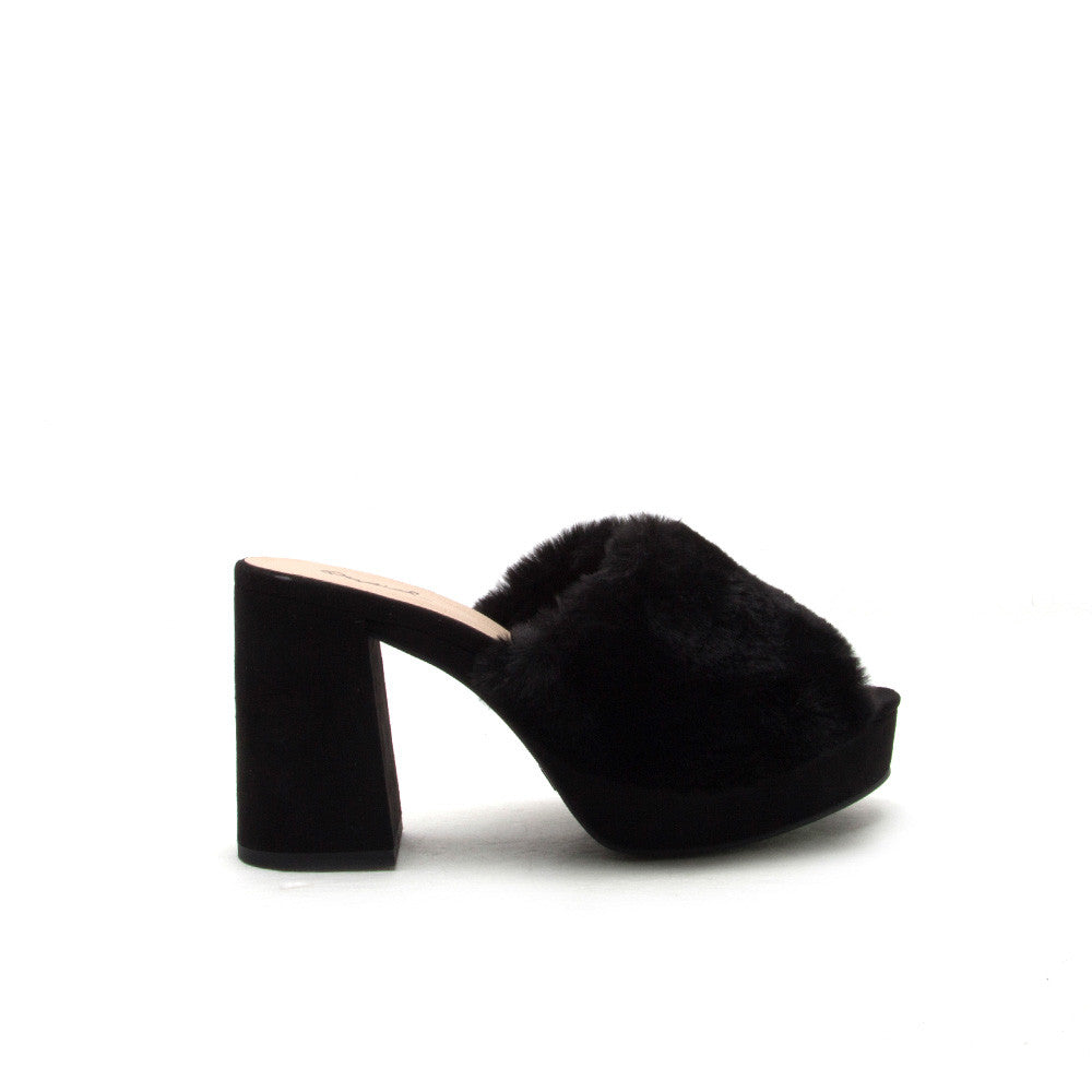 LAWSON-05X Black Fur Mule Heel