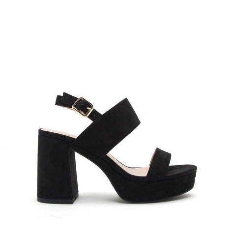 Lawson-14 Black Double Band Slingback Sandals
