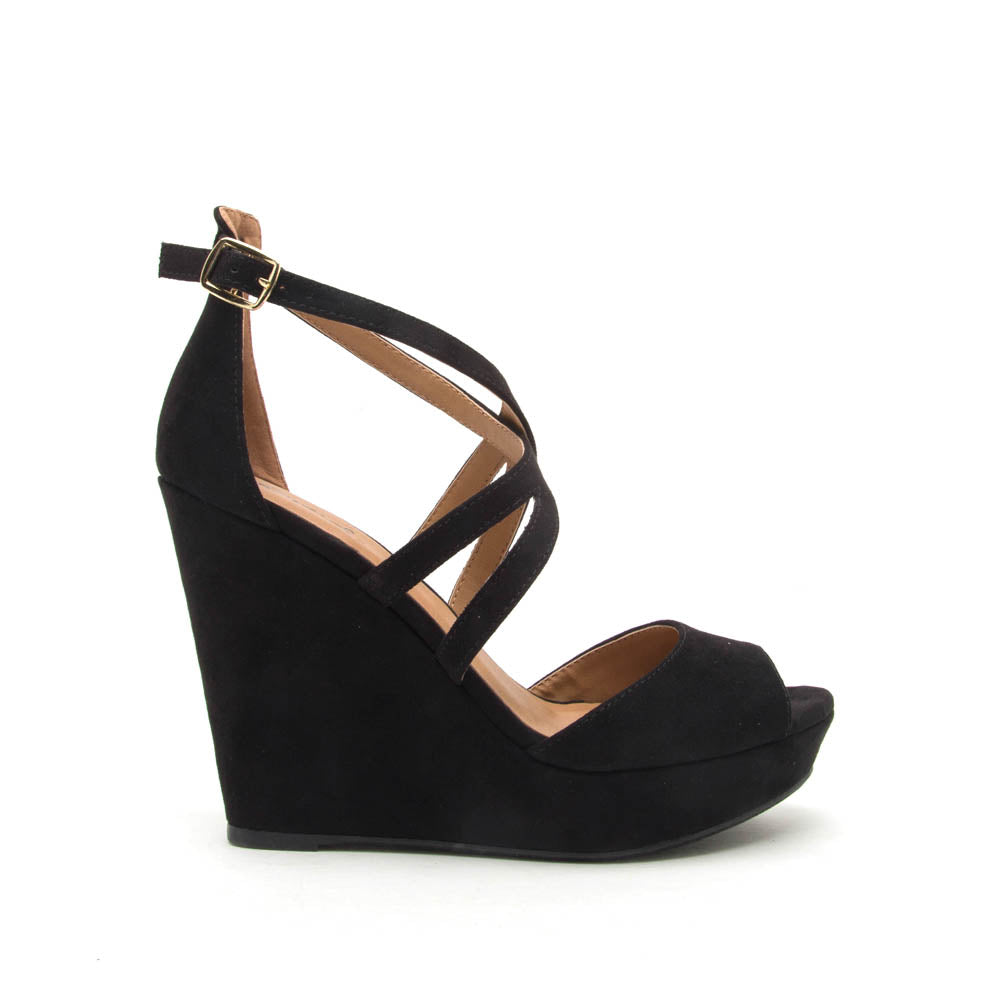 2b3150a64aee73 Qupid Women Shoes Lena-635 Black Strappy Wedge Sandal