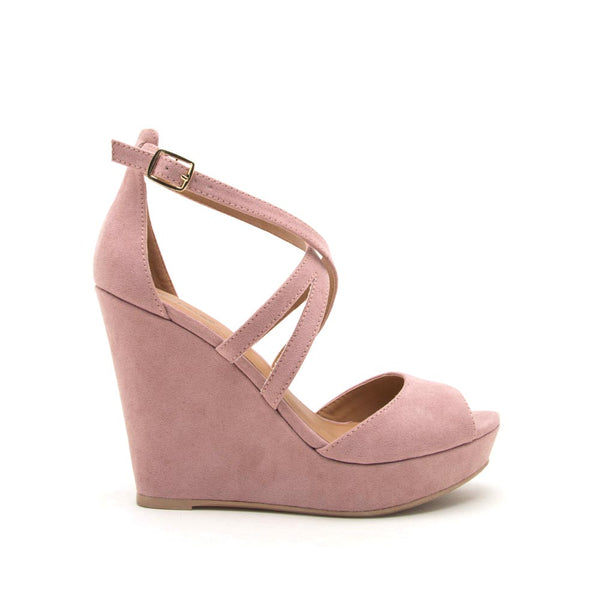 Lena-635 Desert Rose Strappy Wedge Sandal