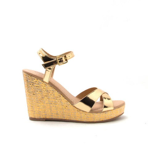LIDI-01X Gold Shiny Metallic X Band Ankle Strap Wedge