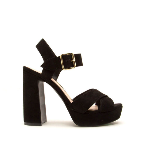 Lighting-01X Black Quarter Ankle Strap Sandals