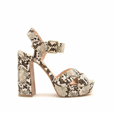 Lighting-01X Ivory Brown Snake Quarter Ankle Strap Sandals