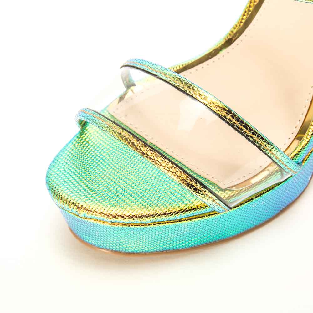 Lighting-27 Iridescent Lizard Double Band Ankle Strap Heels