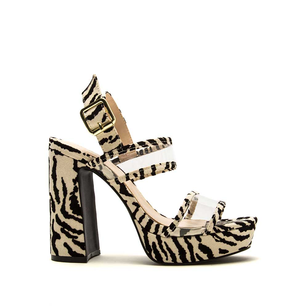 Lighting-27 Stone Black Zebra Double Band Ankle Strap Heels