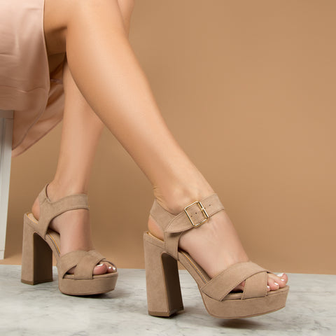 Lighting-01X Taupe Quarter Ankle Strap Sandals