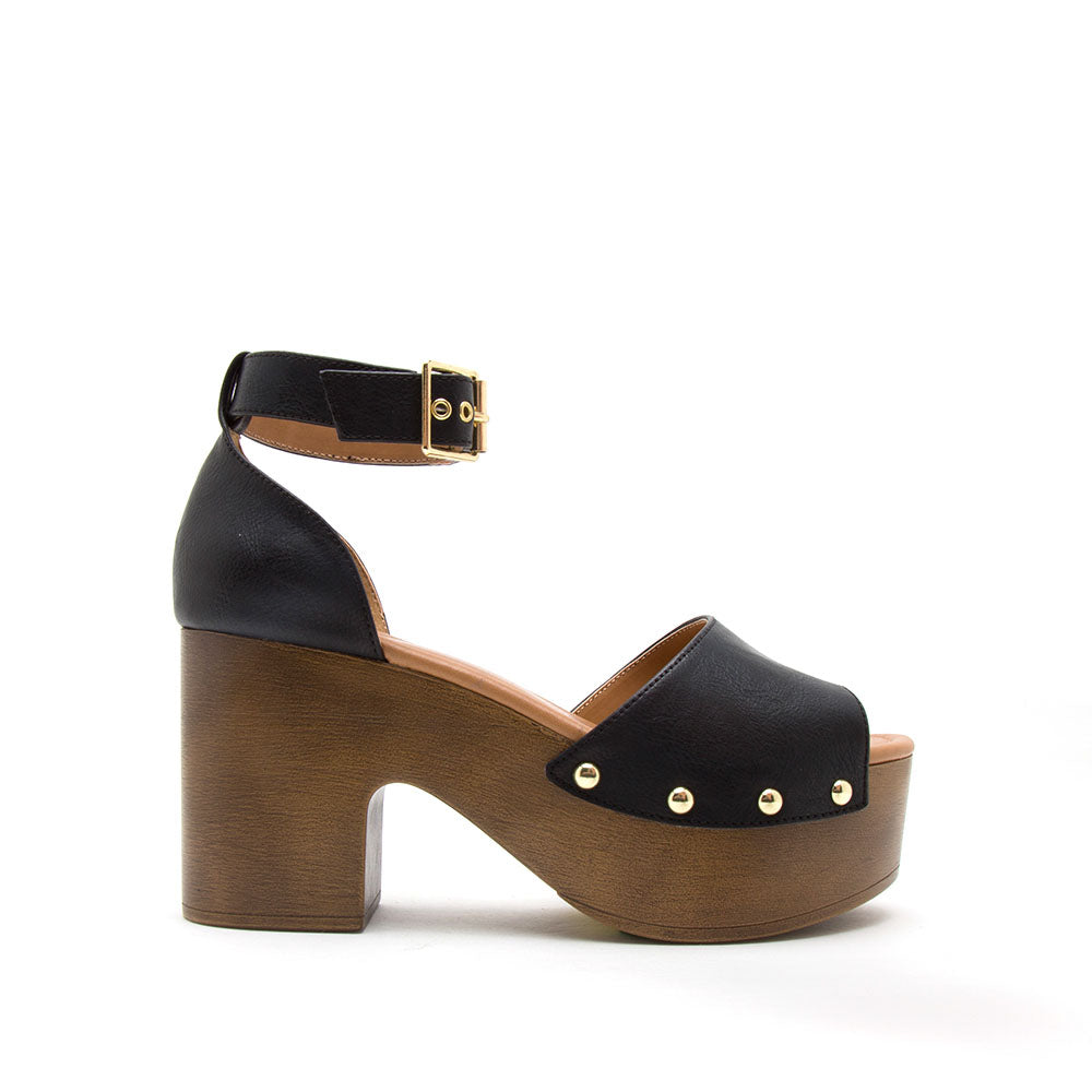 Lodge-02 Black Single Band Ankle Strap Sandals