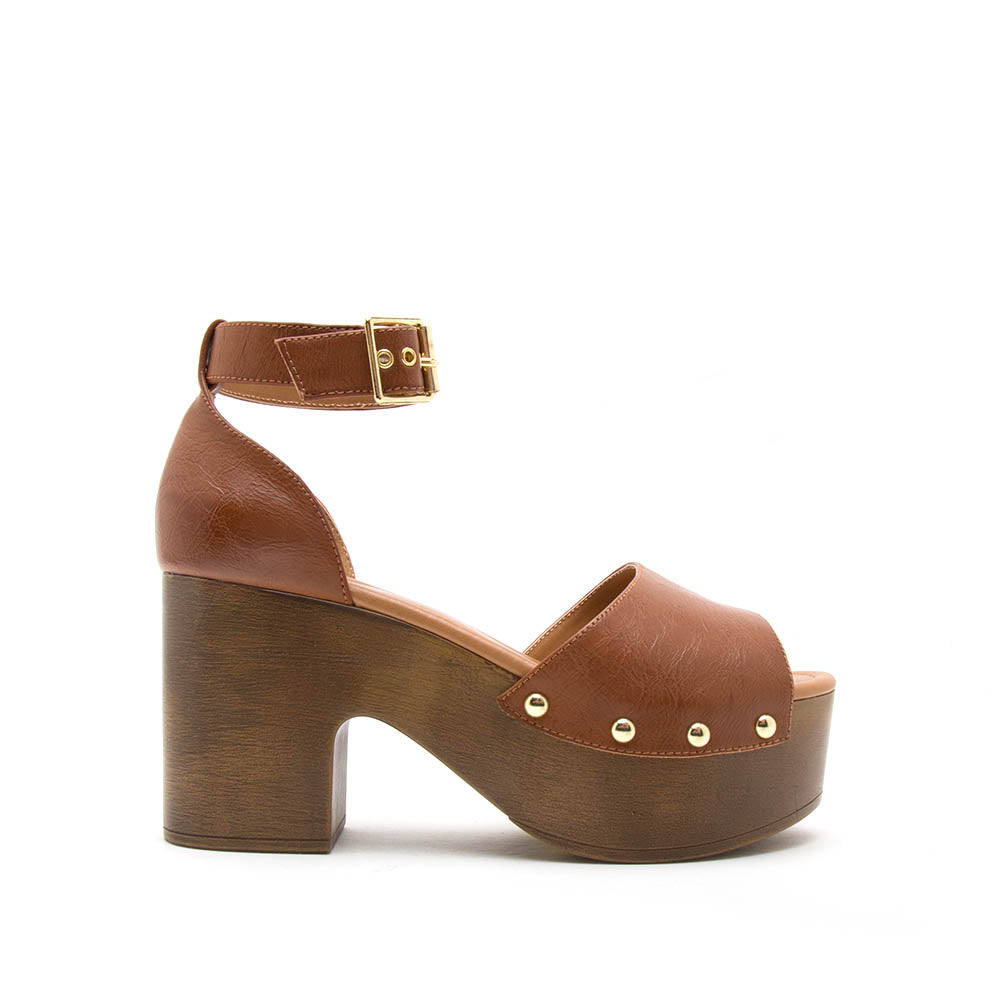 Lodge-02 Cognac Single Band Ankle Strap Sandals