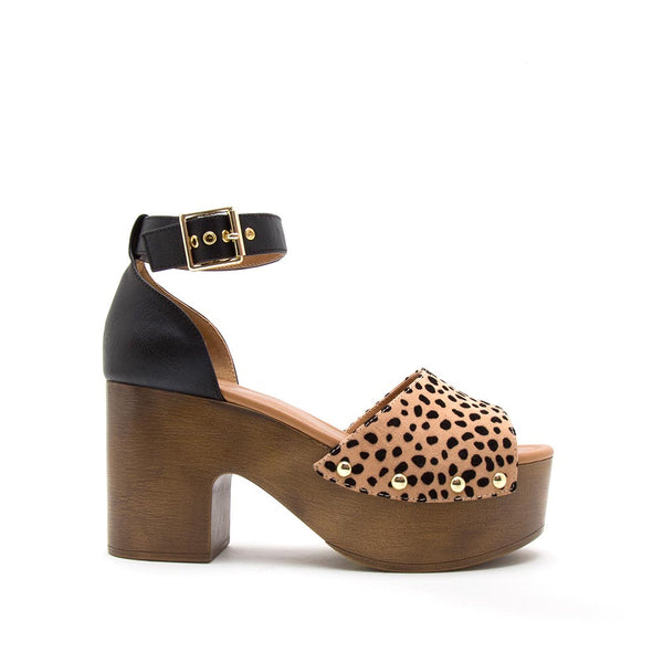 Lodge-02 Tan Black Leopard Single Band Ankle Strap Sandals