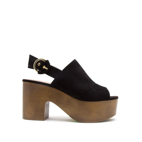 Lodge-03 Black Peep Toe Mule Slingback Sandals