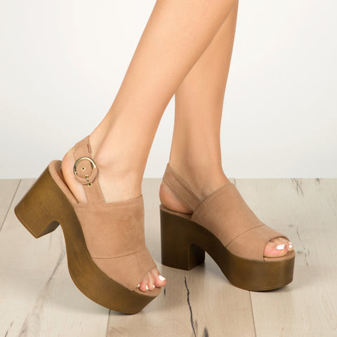Lodge-03 Taupe Peep Toe Mule Slingback Sandals
