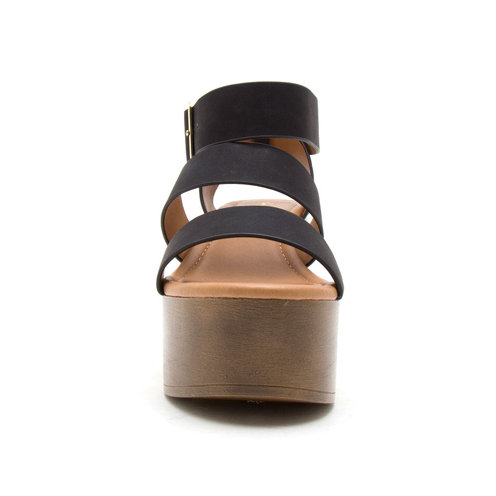 Lodge-04 Black Strappy Sandals