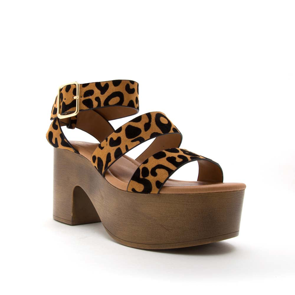 Lodge-04 Camel Black Leopard Strappy Sandals