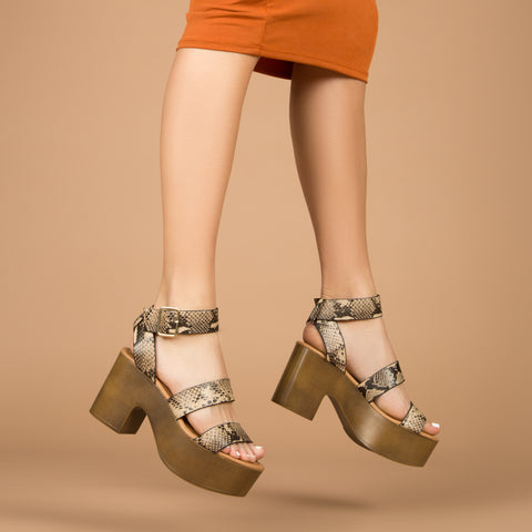 Lodge-04 Light Taupe Brown Snake Strappy Sandals