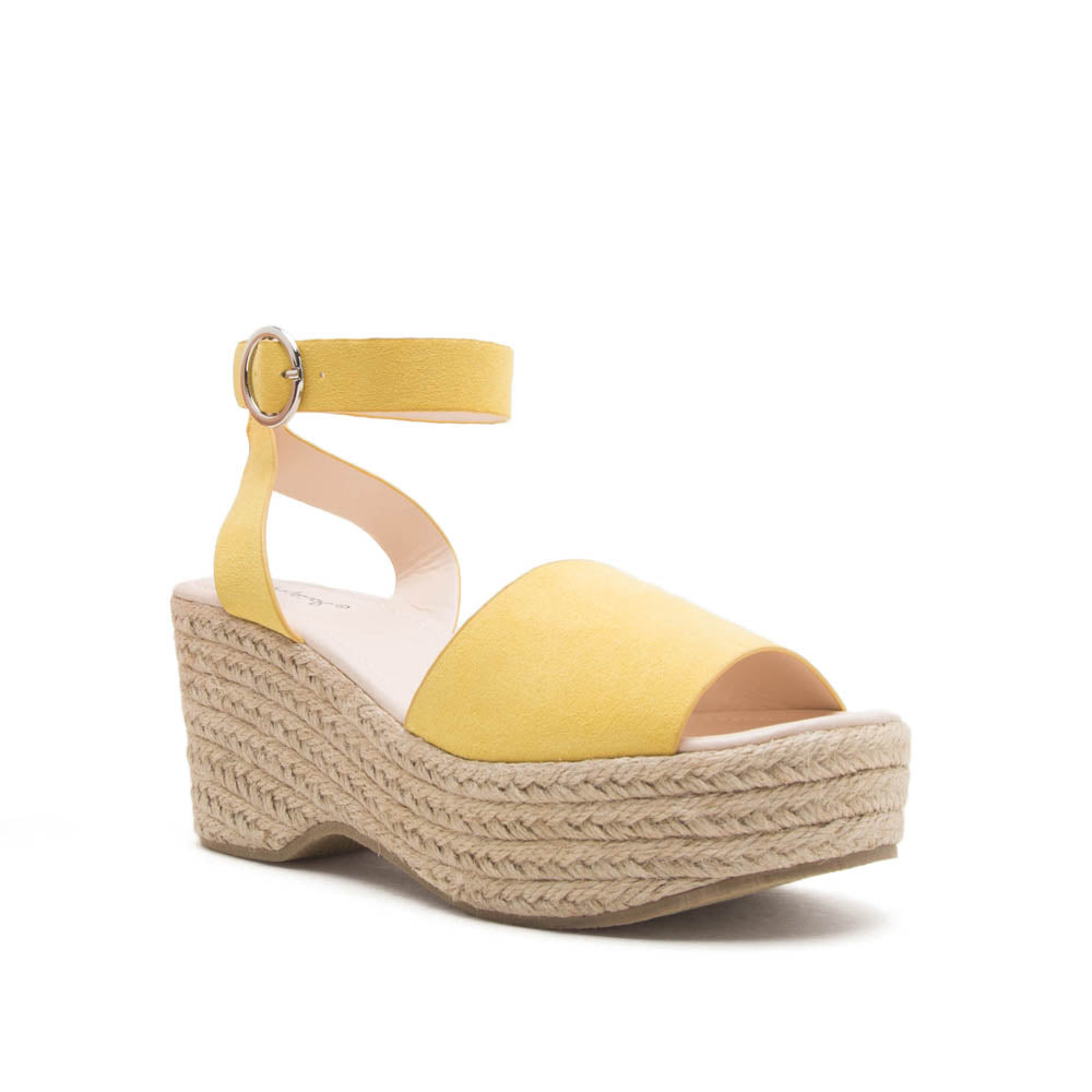 Logan-01XX Yellow Ankle Strap Wedges