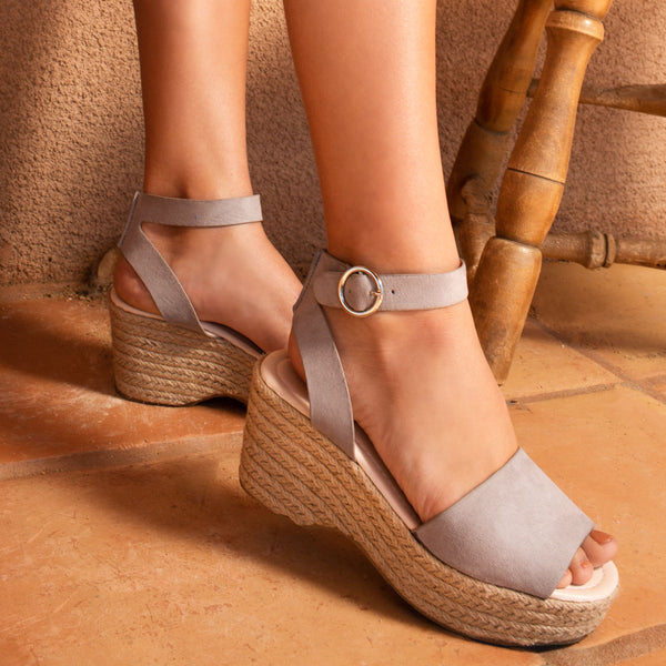 Logan-01XX Light Grey Ankle Strap Wedges