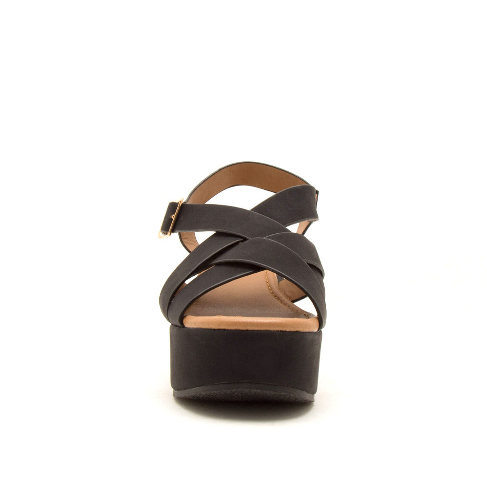 Logan-10A Black Strappy Wedge Sandals