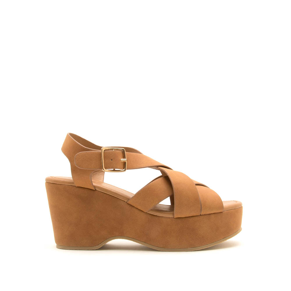 Logan-10A Camel Strappy Wedge Sandals