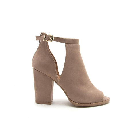 Lost-08 Dark Taupe Peep Toe Cut Out Booties
