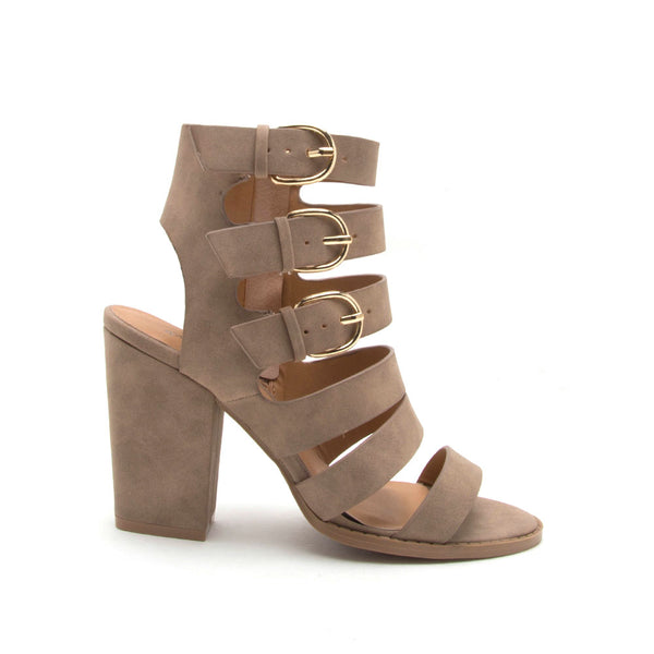 Lost-13X Taupe Strappy Multi Buckle Sandal